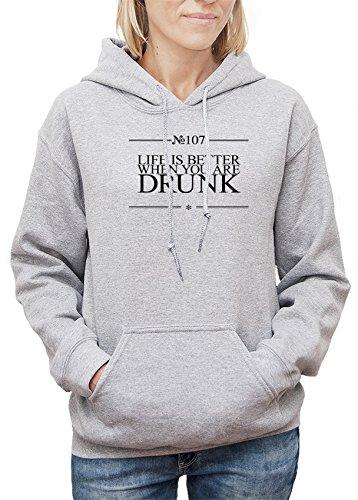 Felpa con cappuccio da donna con Life Is Better When You Are Drunk Funny Slogan Phrase stampa. XX-Large, Grigio