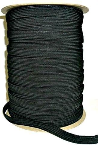 12mm schwarz oder weiß Elastische Schnur für Qualität Nähen und Borte - Dehnbar String für die Herstellung Hosenbund, Riemen, Armbänder, Unterwäsche, Schleifen und Stoff Handarbeiten - Rolle Weich Stretchstoff - Schwarz, 10