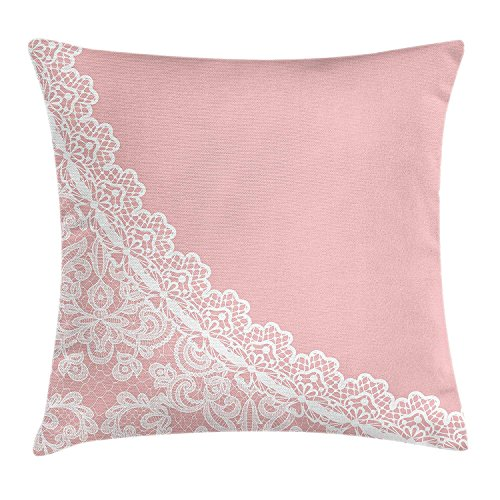 KLYDH Pink and White Throw Pillow Cushion Cover, Lace Old Fashioned Border on Pink Color Wedding Theme Feminine Print, Decorative Square Accent Pillow Case, 18 X 18 inches, Pale Pink White Pink Double Old Fashioned