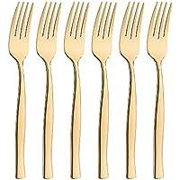 icxox Gabeln Forks Set 6 Stück - Tafelgabelns aus 18/10 Rostfrei Edelstahl, Länge 20,7 cm, Gold