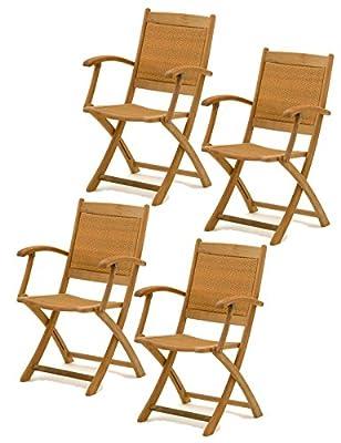 4x Belardo Hartholz Rattan Garten Sessel Holz Gartenstuhl Stuhl Klappstuhl Set - ähnlich Teak