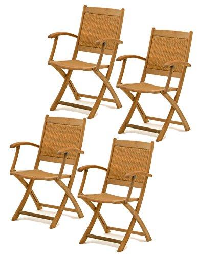 floristikvergleich.de 4x Belardo Hartholz Rattan Garten Sessel Holz Gartenstuhl Stuhl Klappstuhl Set – ähnlich Teak