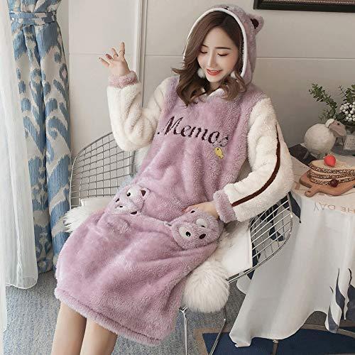Handaxian Herbst und Winter Neue niedliche Tier Kapuze warm gepolsterte Flanell Home Service Pyjama Bademantel 6 XXL