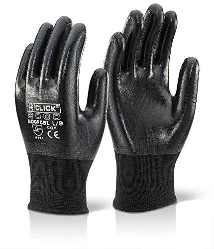 Click entièrement Polyester enduit de Nitrile Taille moyenne-Noir-Lot de 10