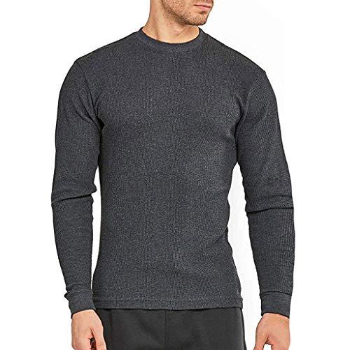 serliyHerren Waffel Pullover Basic Sweatshirt Langarm O-ausschnittTops Einfarbig Sweatjacke Sweater Pulli Rundhals Strickpullover Feinstrick Langarm Basic