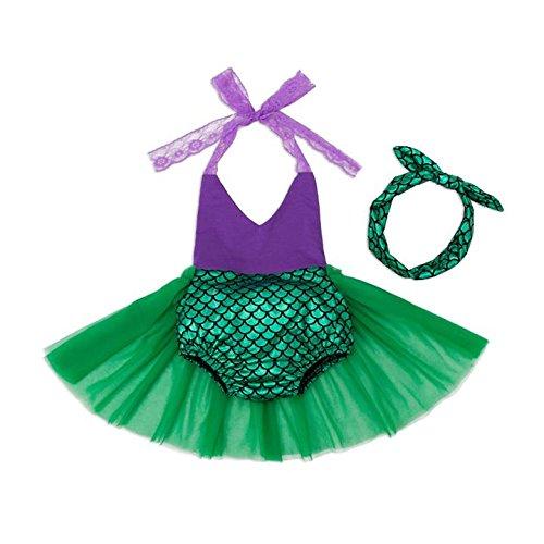 en Meerjungfrau Prinzessin Bikini Baden Anzug Sommer Outfit mit Stirnband (Baby Mermaid Outfit)