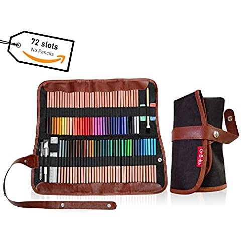 Colored Pencil case 72 slots, coloured Pencils wrap -Pouch for travel- Art supplies organizer for adult coloring books, 4-in-1 pen bag holder for school-Bonus Free Ebook -(PENCILS NOT INCLUDED) by