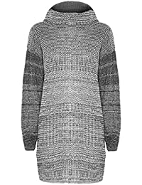 Womens Ladies Cowl Neck Oversized Long Full Sleeves Plain Chunky Mini Dress Knitted Knitwear Baggy Long Jumper Top