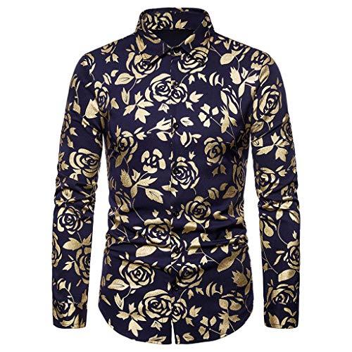 DeHolifer Herren-Hemd Mode Rose Heißprägen Langarm-Hemd Revers Freizeit Hemd Männer Top Casual Knopf Hemd Slim Fit Atmungsaktiv Hemd