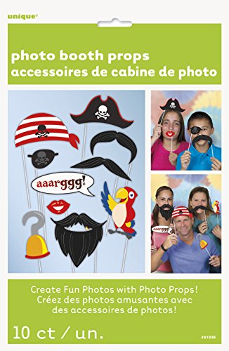 Unique Party 61939 - Accessori per Cabina Fotografica a Tema Pirati, Confezione da 10
