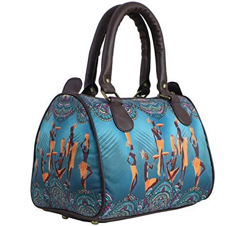 bang price Women's Canvas Digital Printed Multipurpose Blue Masai Tribal Duffle Tote and Handbag