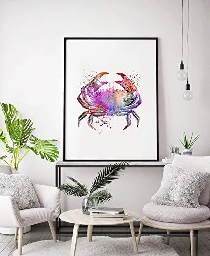 Aquarell Krabben Print, Sealife Poster, Küchenkunst, Meerestier Wandkunst, Meer Bad-Accessoires, Krabben Dekor, Krabben Kunst, Küchenkunst
