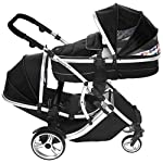 Kids Kargo Cria Single Pushchair carrycot pram which converts to a seat unit. Suitable from Newborn (Silver Chassis, Teal)