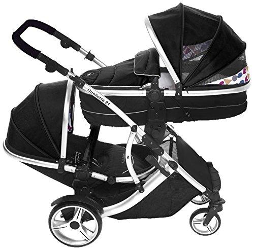 kidz kargo Twin Pushchair Tandem Stroller Buggy New-Born Baby Carrycots Pram Travel System 51WbNXKaNgL