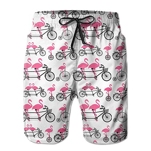 f52c274a8d Pillowcase shop Nana Home Flamingo Rides A Bike Men's Quick Dry Beach  Shorts Swim Trunks XX