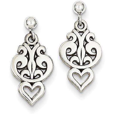 Oro bianco 14 k-Orecchini pendenti a forma di cuore in filigrana