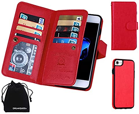 iPhone 7 Case, DRUnKQUEEn TM Wallet PU Leather Flip Card Holder Clutch Purse, 2 in 1 Detachable Magnetic Back Cover for (Hybrid Wallet)