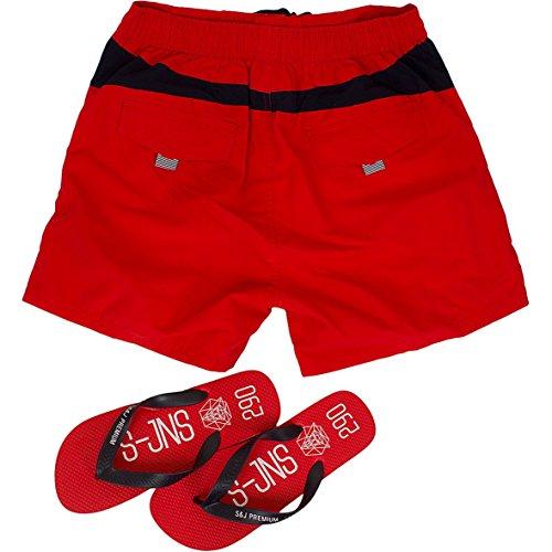 Smith & Jones Buoyant Boardshort Swimshorts & Flip Flops Bundle Set Flame