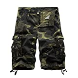 ZhiYuanAN Herren Sommer Multicolor Shorts Cargo Outdoor Casual Lose Camouflage Shorts Military Shorts Freizeithose Dark Army Green Camouflage 38