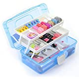 #7: Diswa new Multipurpose Plastic Storage Box Travel Stationery Makeup Cosmetic Medicine Organizer With 3 Layer Storage Box - Multi color