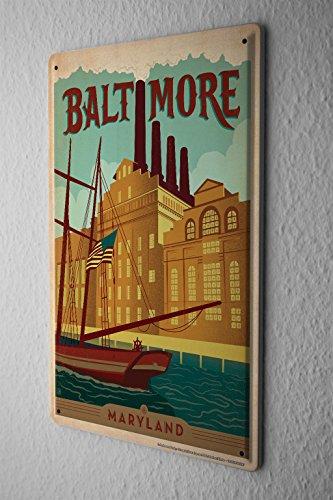Preisvergleich Produktbild Blechschild Welt Reise Baltimore Maryland Segelschiff Fabrik Wand Deko Schild 20X30 cm