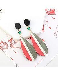 cc681449f244 FJTHY Moda Madera Pintada A Mano Pendientes De Color De Contraste Pendientes  Incrustados De Diamantes Simples