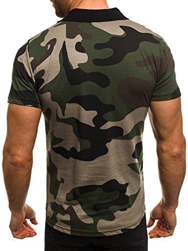 OZONEE Herren Herren Poloshirt Polohemd Polo T-Shirt Kurzarm Figurbetont Camouflage ATHLETIC 1126 Grün