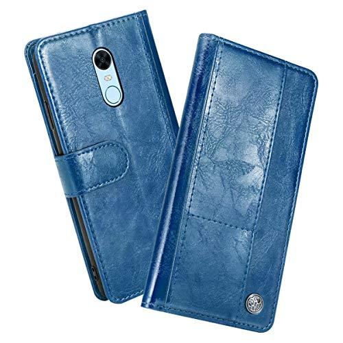 fitmore Funda Xiaomi Redmi 5 Plus Redmi Note 5 (International Edition), Slim Folio Carcasa Funda de Cuero de la con Soporte Plegable Magnético Caja protección de Cover,Azul