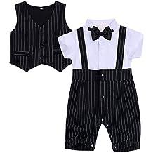 iiniim 2pcs Monos Traje de Bebe-Niños y Romper Jumpsuit Negro Pelele de Algodón con
