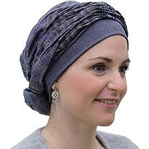 Turbante preformado Mano estampado azul tejano para conseguir volumen sin tener que hacer nudos o pasar