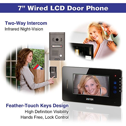 """Generic 7"""" inch Touch Key Color LCD Wired Video Door Phone Doorbell Home Entry Intercom System Kit 1 Monitor 1 Camera Night Vision 705D2 (Black)"""