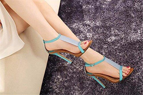QIYUN.Z Sexy Femmes Elegantes Ouvertes Stilettos Orteils D'Ete Chaud Sexy Chaussures Talons Hauts Sandales Bleu