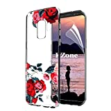 OKZone Galaxy S9 Case [with HD Screen Protector], [Flowers Pattern Design] Luxury Colorful Floral Pattern Printed Shockproof Clear Soft Flexible TPU Protective Case For Samsung Galaxy S9 (Red)