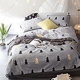 Kexinfan Bettbezug Baum Blatt Kissenbezug Quilt Cover Sets Baumwolle Bettwäsche Zweibettzimmer Doppelzimmer Queen King Size Betten, B3459, Ukdouble