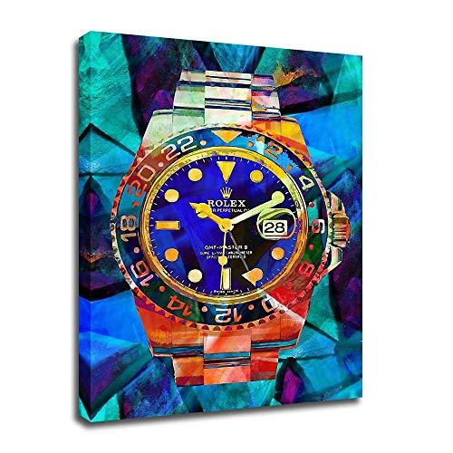 Kunstdruck auf Leinwand, Motiv Rolex Watches Pop-Art auf Leinwand, modernes Abstraktes Design, für Büro, Schlafzimmer, Café, Dekoration, mit Rahmen -