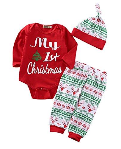 Chickwin 3 PCS Bebé Unisex My First Christmas Navidad Manga Larga Mono Bodies y Ciervo Impresión Pantalones y Sombrero (Copos de Nieve Rojos, 90 (6-12 Meses))