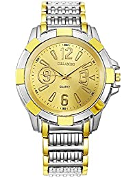 Orlando® Branded Chronograph Look With Gold Dial, Chrome & Gold Plated Metal Belt Watches For Men - W1036GGXZ