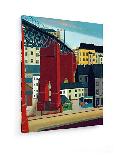 Carl Grossberg, Brücke .. in Wuppertal - 60x75 cm - Textil-Leinwandbild auf Keilrahmen - Wand-Bild...