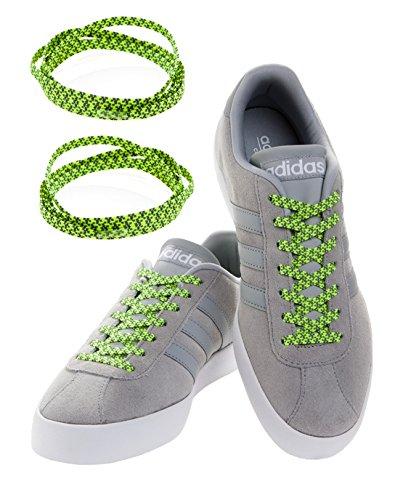 MAXXLACES Flache elastische Schnürsenkel mit einstellbarer Spannung in verschiedenen Farben Schuhbänder ohne Binden komfortable Schuhbinden einfach zu bedienen Past zu jedem Schuh (Reflective Grün) (Grün Komfortable)