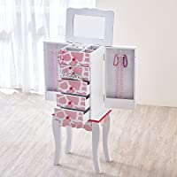 Fashion Prints Childrens Wooden Jewellery Armoire Organiser Bedroom Storage Cabinet - Giraffe