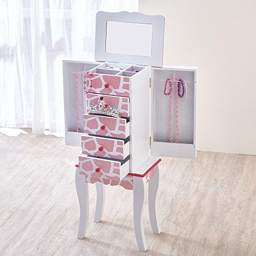 Teamson-Kids-Tocador-y-taburete-de-madera-para-nias-con-juego-de-vanidad-espejo-y-cajn