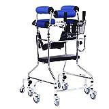 Tx Stehender Weg Stand/Wanderer/Gehhilfe/Stand-Rahmen mit Sitz-Rad-Rehabilitations-Gerät Falten höhenverstellbarer Alter Mann Walker Lower Limb Walker Blaues 8 Rad mit Sitzplatte