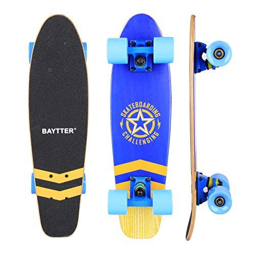 ateboard Komplett Board Mini-Cruiser aus 7-lagigem Ahornholz 57 x 15cm für Kinder, Jugendliche und Erwachsene mit ABEC-11 Kugellager und 95A Rollenhärte, 5 Farben wählbar (blau) ()
