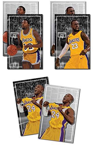 Oakley Graphics 3 Poster von LA Lakers - Magic Johnson, Kobe Bryant, Lebron James Kunstdrucke - kaufen Sie 1 erhalten 2 kostenlose und 3 Gesamtdrucke (2-seitig) Medium Set - 12