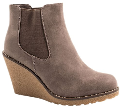 Elara Damen Keilstiefeletten | Chelsea Boots Wedges | Keilabsatz Wildlederoptik Größe 39, Farbe Grau New
