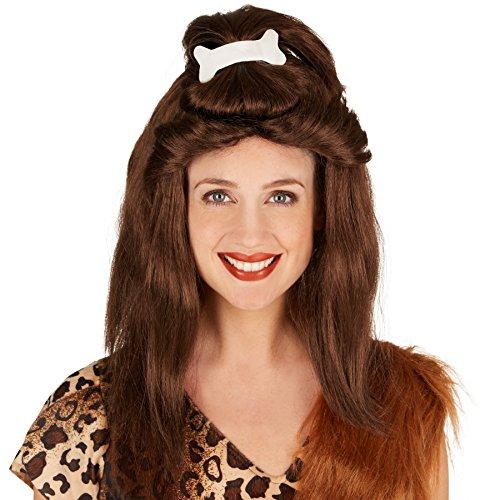 dressforfun Frauenperücke Steinzeit Knochen | Tolle, voluminöse Haarpracht | Lustiger Stoff-Knochen als Zopf integriert