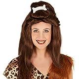 Peluca de mujer Hueso Edad de Piedra | Genial y voluminosa cabellera | Divertido hueso de tela como coleta integrada