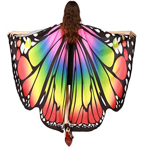 che Gewebe Schmetterlings Flügel Schal Sonnena,feenhafte Damen Nymphe Pixie Halloween Cosplay Weihnachten Cosplay Kostüm Zusatz (Freie Größe, Sexy Mehrfarbig) (Regenbogen-halloween-kostüme)