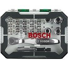 Bosch 2607017322 - Set con 26 unidades para atornillar, incluye puntas, vasos y llave de carraca, color verde y gris