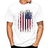 Bellelove Männer Plus Size Flag Print T-Shirt Kurzarm Baumwolle Freizeithemd Bluse Tops (Weiß, XL)